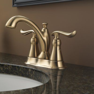 Delta Linden Standard Lever Handle Bathroom Faucet With Drain Assembly  Finish: Brilliance Champagne Bronze