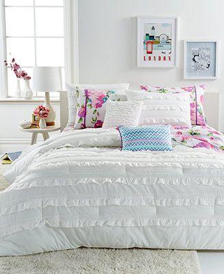 seventeen bedding eva eyelet white 3 piece comforter sets - teen