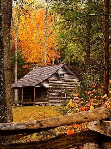 Cabin in the fall Houses Pinterest Automne, Cabanes et Maison