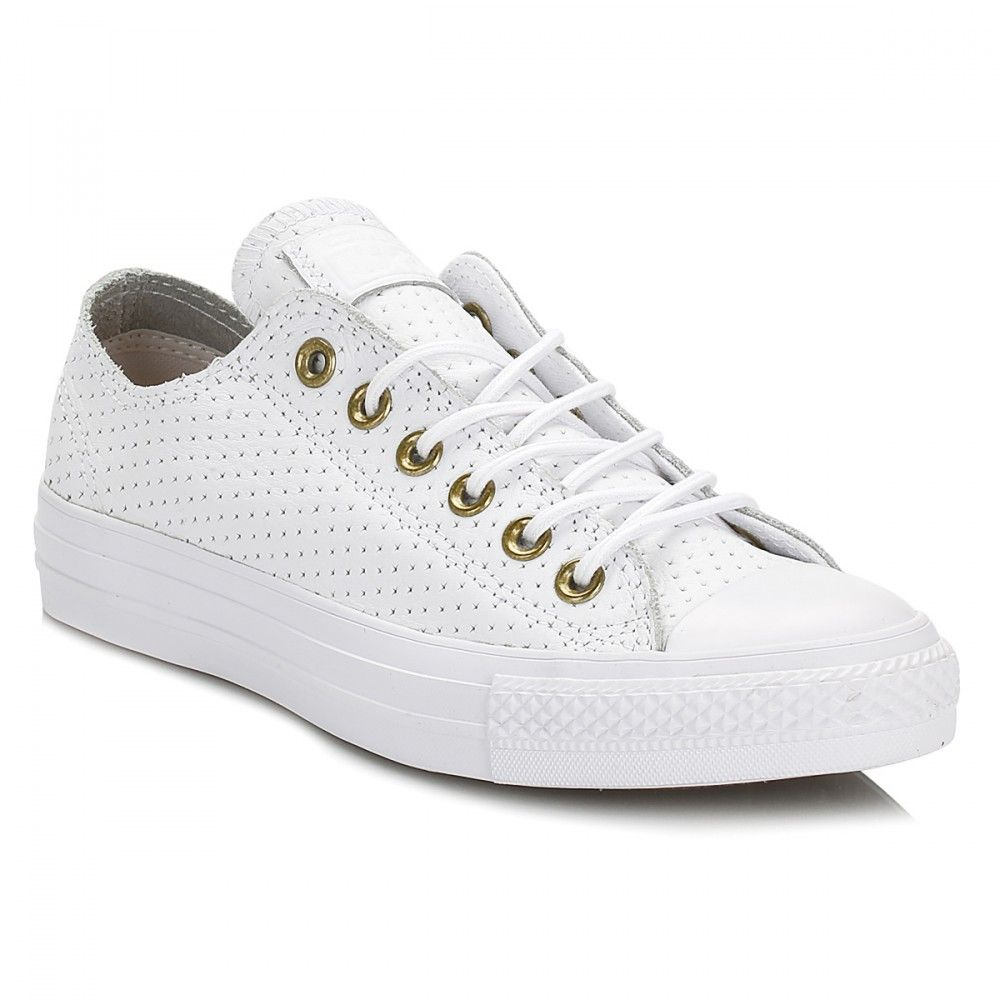 0916be655744 Converse Womens White   Biscuit Chuck Taylor All Star Ox Leather Trainers