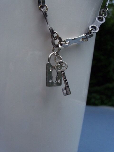Bike Chain Link Necklace With Lock Key Charm On Etsy 35 00