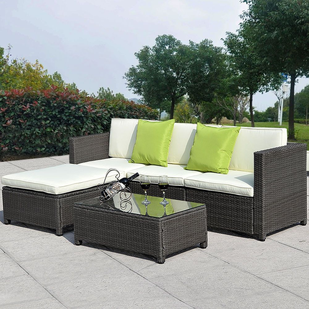 5PC Outdoor Patio Sofa Set Sectional Furniture PE Wicker Rattan Deck Couch  Brown Part 90