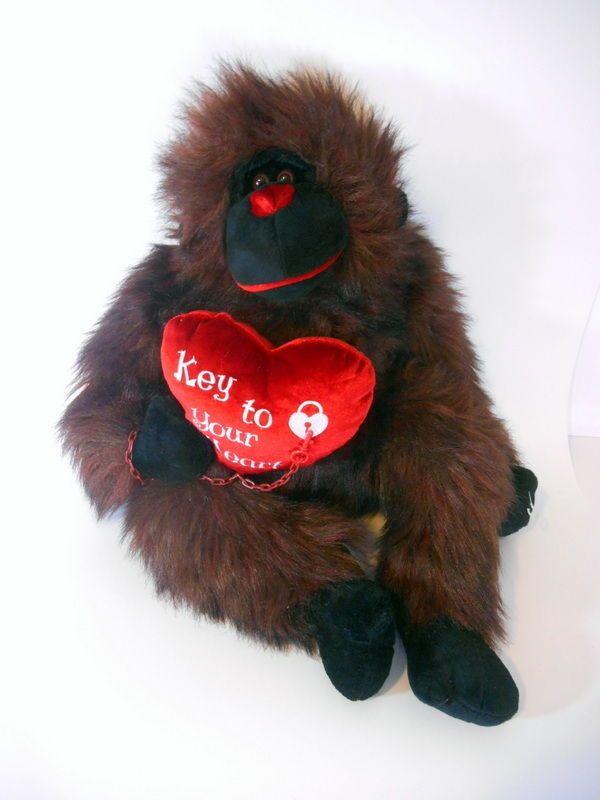Plush Jumbo Ape Dan Dee Gorilla Monkey Red Black Stuffed Animal
