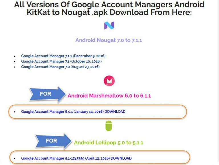 all versions of google account manager android kitkat to nougat apk