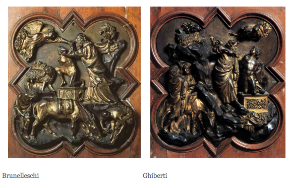 Brunelleschi \u0026 Ghiberti The Sacrifice of Isaac competition panels for the doors for the Florence Baptistery & Brunelleschi and Ghiberti: 1401-1402; Finalist panels in the Contest ...