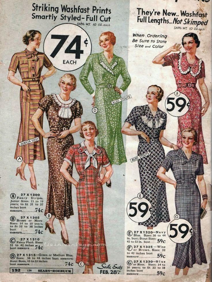 Vintage 1930s Dresses / 30s Fashion / Dust Bowl Dress