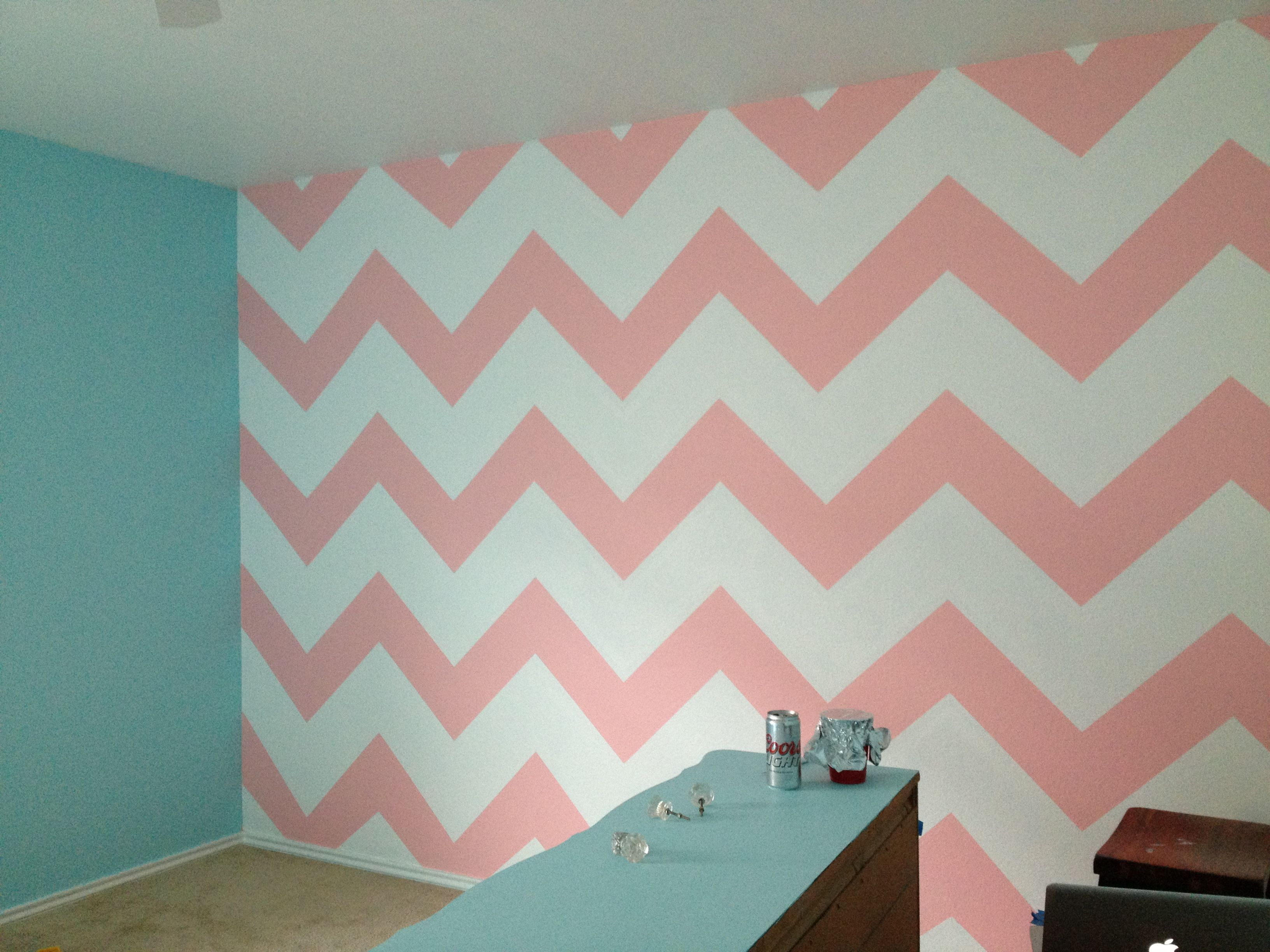 Chevron wall fur nursery for sweet caroline for Chevron template for walls