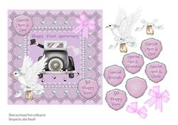 Pearl anniversary card with wedding car 3d dove and bow on