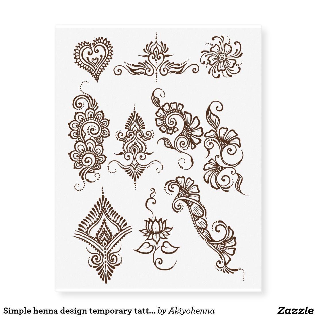 Simple Henna Design Temporary Tattoo Sheet Brown Zazzle Com Henna Stencils Henna Designs Easy Henna Tattoo Designs
