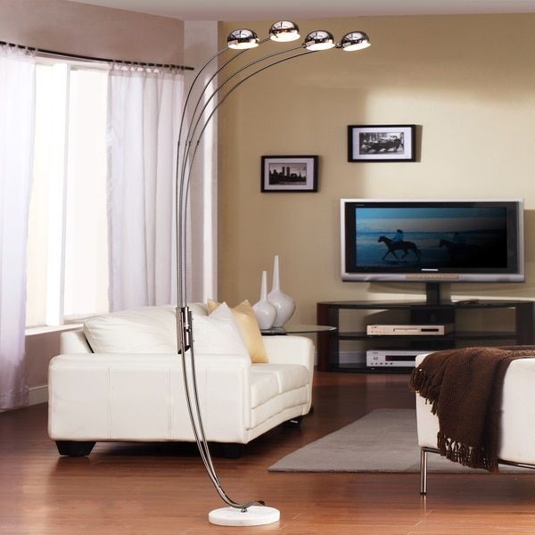 Tribecca Home Modern Chrome Metal Arch Lamp