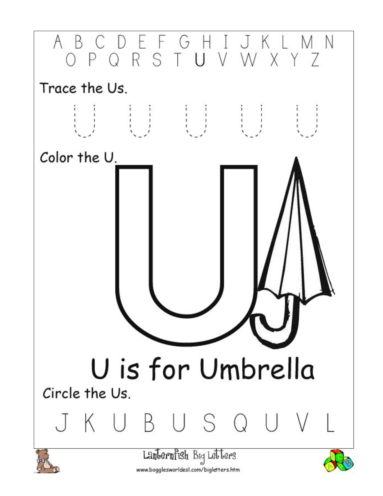 Alphabet Worksheet Big Letter U