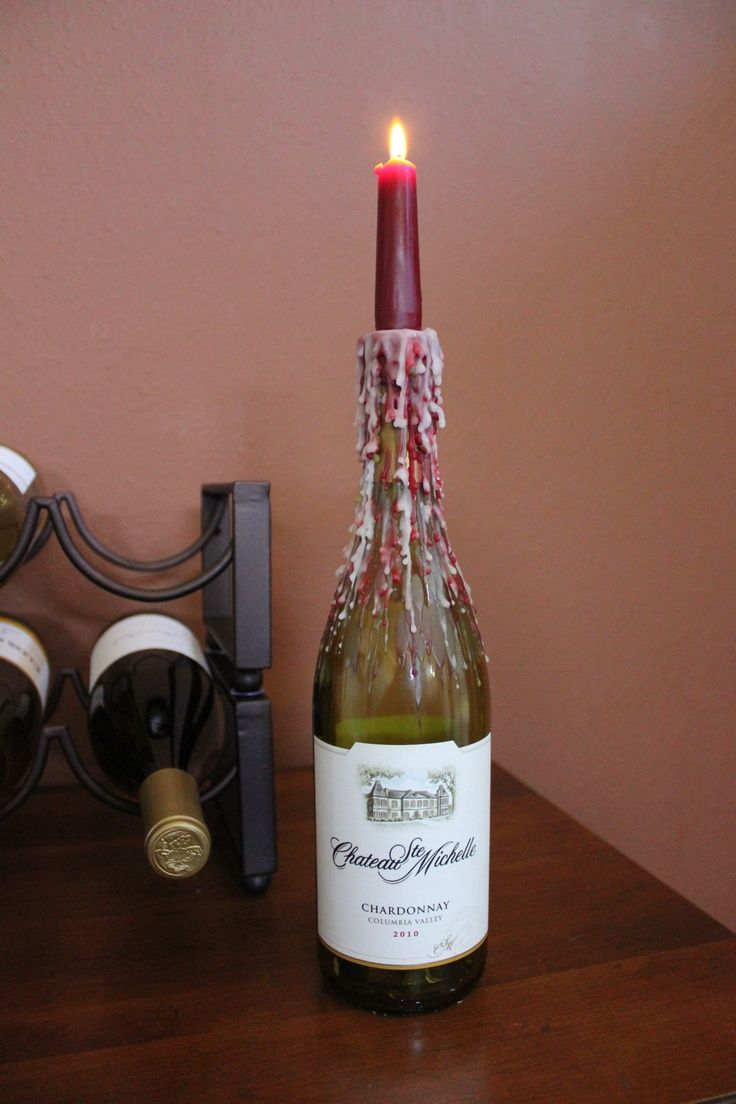 Candle wax drip wine bottle- for the deck! | DIY | Pinterest | Wax ...