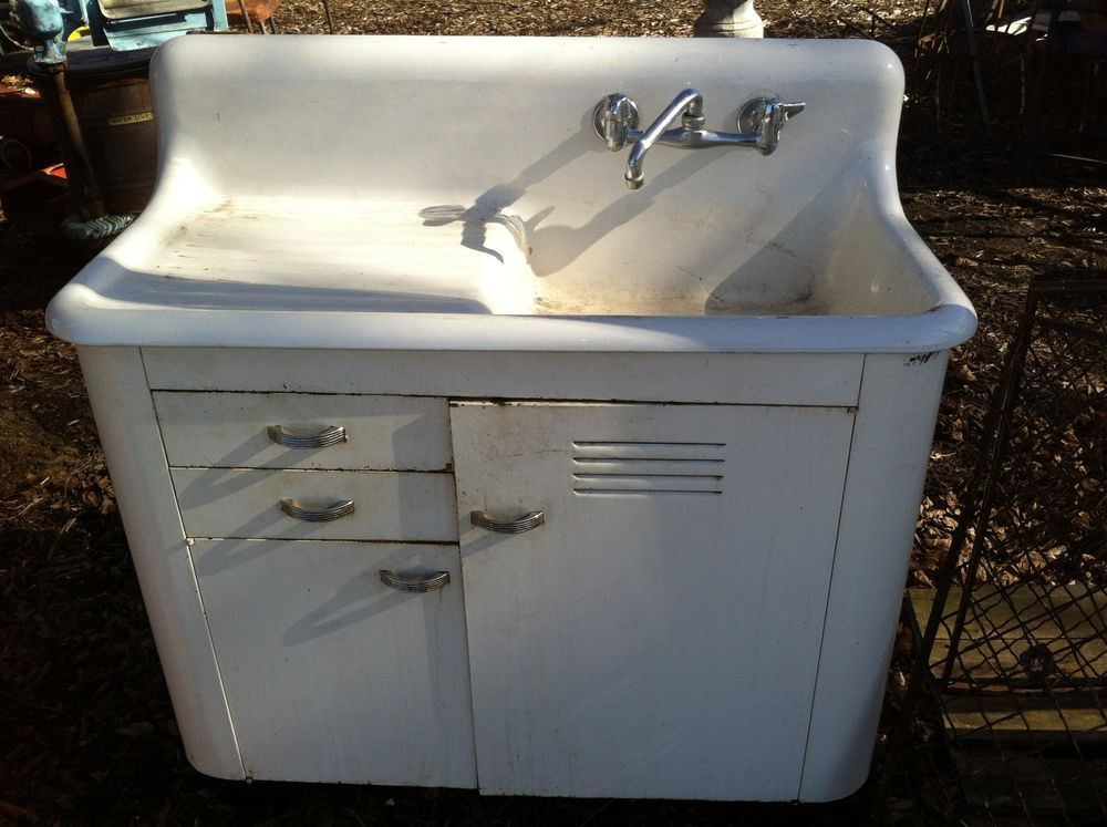 Architectural Salvage Cast Iron Porcelain Farm Kitchen Sink Camper ...