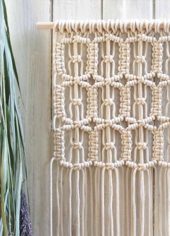 Muur opknoping macrame macrame muur opknoping tapijt door moxmacrame pinteres - Grijze muur deco ...