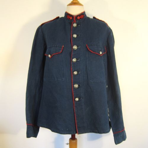 05079195018 VTG-1900s-ANTIQUE-FRENCH-INDIGO-LINEN-FIREFIGHTERS-CHORE-JACKET-WORK-FIREMAN