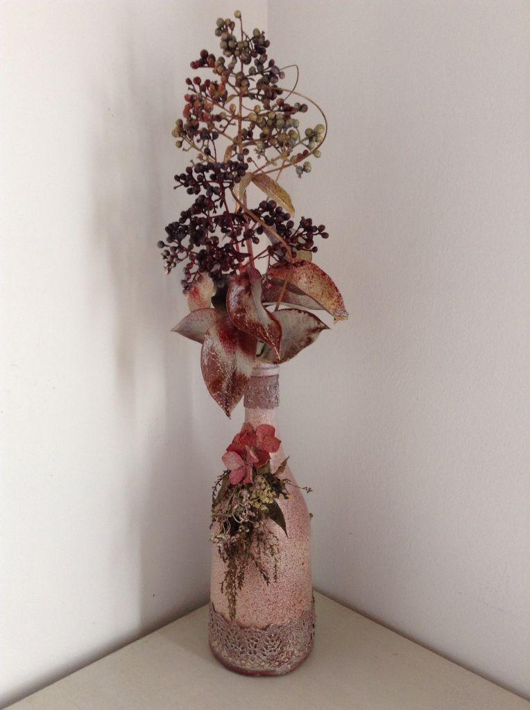 Botella de cava con flores secas Botellas decoradas Pinterest - flores secas