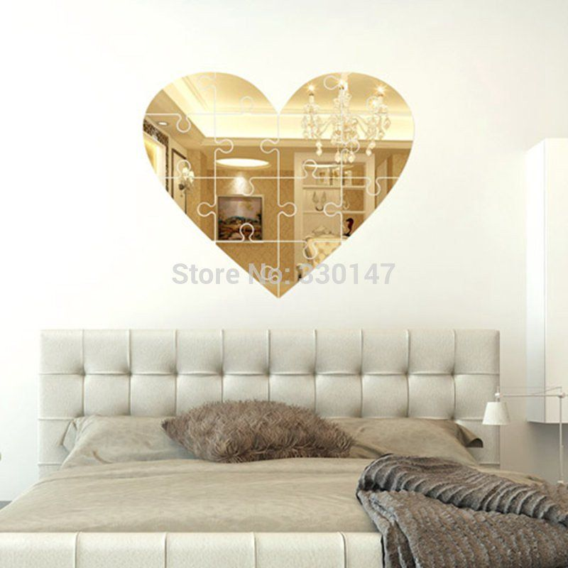 Large Unique Wall Mirror Heart Shaped Puzzle Pieces Mural wall