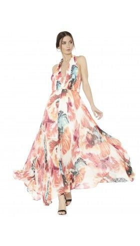 CLARE HALTER NECK PLEATED MAXI DRESS   Alice + Olivia   Apparel & Accessories > Clothing > Dresses > Cocktail Dresses
