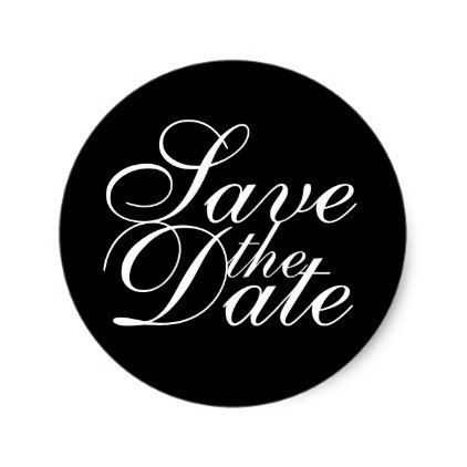 black and white elegant wedding save the date classic round sticker