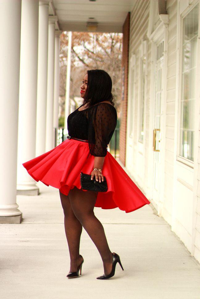 a3e89a06f36 Shapely Chic Sheri - Red Alert  Sheer Polka Dot Blouse + Skater Skirt