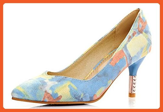 77bfc35fc4c8 Sfnld Women s Trendy Pointy Low Top Slip On Printed Stiletto Heel Pumps  Shoes Blue 4 B