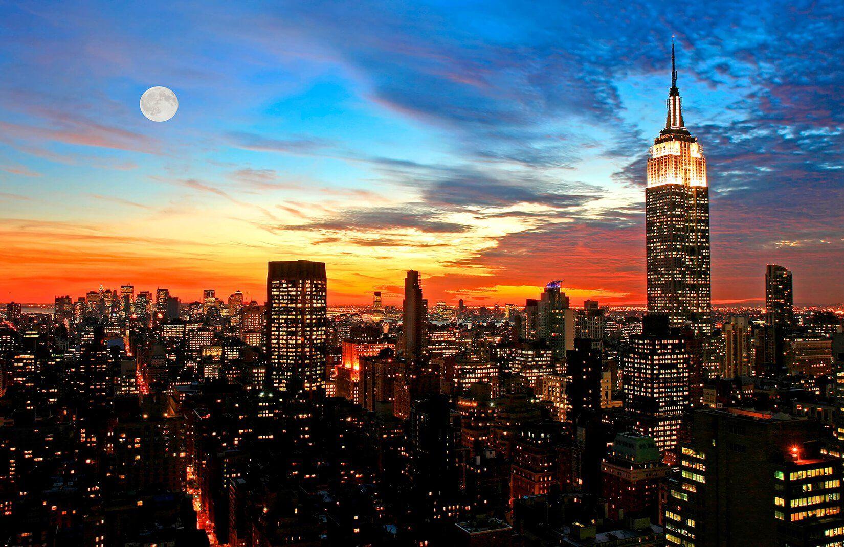 New York Sunset Wallpaper Mural Murals Wallpaper In 2021 Sunset City New York Sunset City Landscape