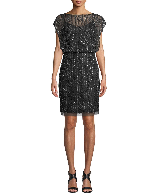 9fe6a2ec42 Geometric Beaded Short-Sleeve Blouson Dress | Neiman Marcus in 2019 ...