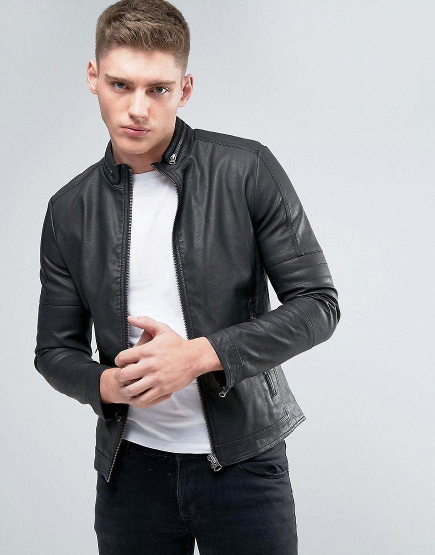 a32b5c8d4 Lindbergh Faux Leather Jacket In Black - Black | Products | Faux ...