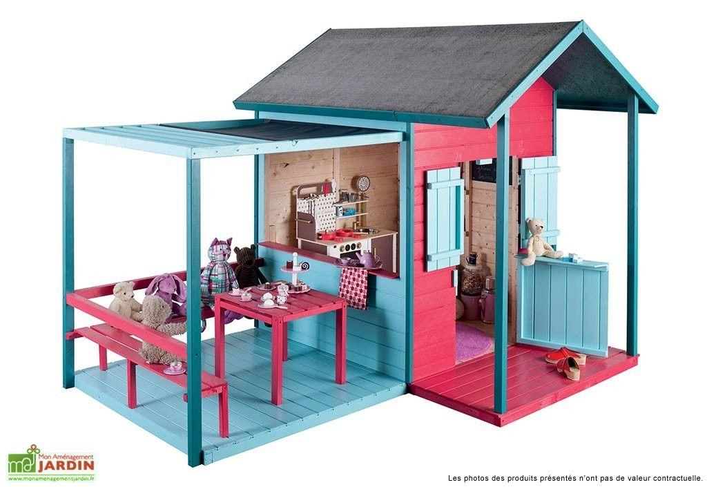 maison pour enfant bois avec terrasse kook maison pour. Black Bedroom Furniture Sets. Home Design Ideas