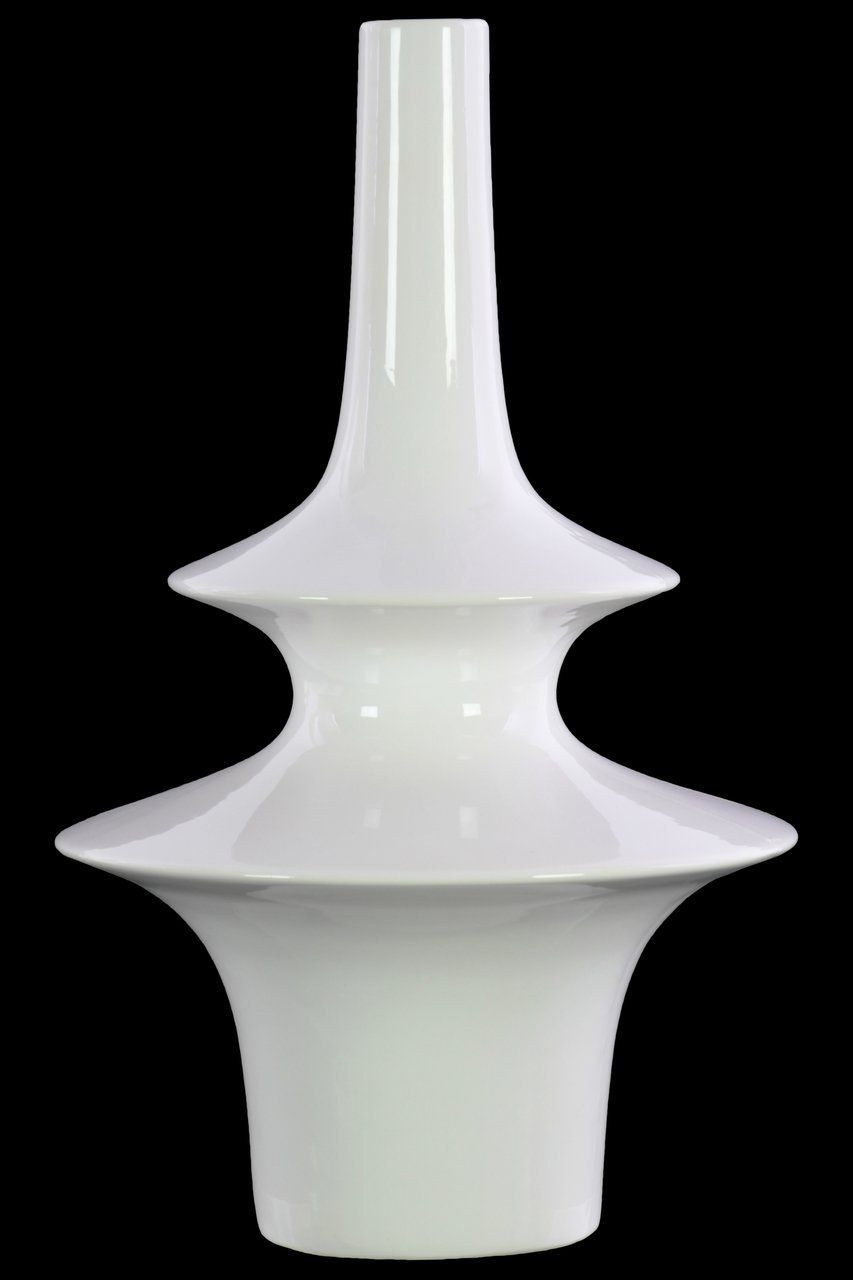 Round Vase With Long Neck Glossy White