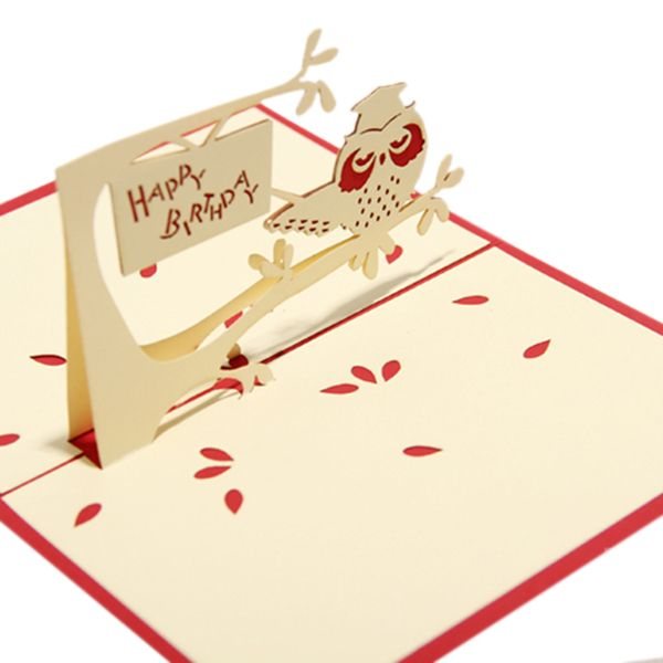 3d diy creative owl birthday greeting card red 3d pop up 3d diy creative owl birthday greeting card red bookmarktalkfo Choice Image