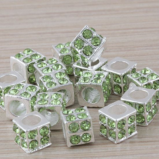 Charms 20pcs/lot Motley Crystal Square Silver ,European Big Hole s Fit Bracelet Beads