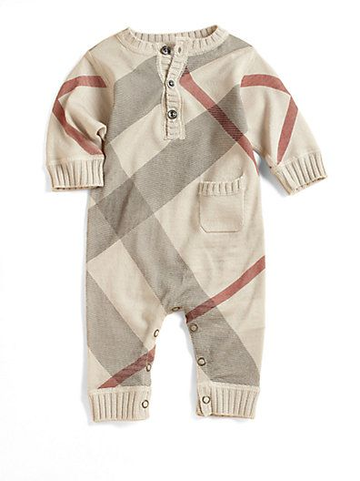 95bb085bb45ee Burberry Infant s Cashmere-Blend Check Coverall  Amber Huizar ...