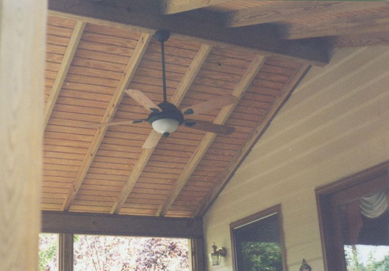 Pressure treated pine with t111 roof decking patio ideas for Balcony ceiling