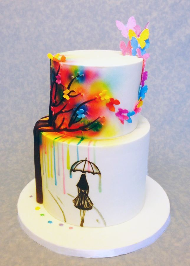 Cake is inspired by McGreevy Cake Design hand painted