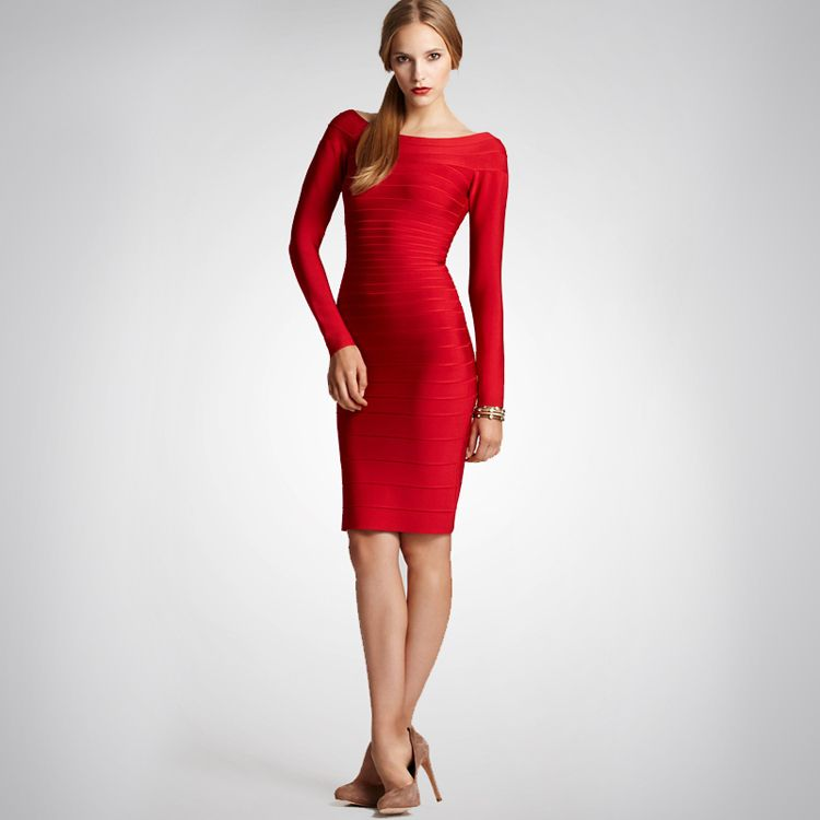 Herve Leger Red Long Sleeves Bandage Dress Sale $150 | long sleeve ...
