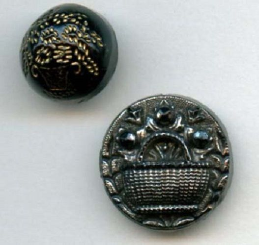 Black glass with basket of flower buttons 2 each different small antique buttons $12.00