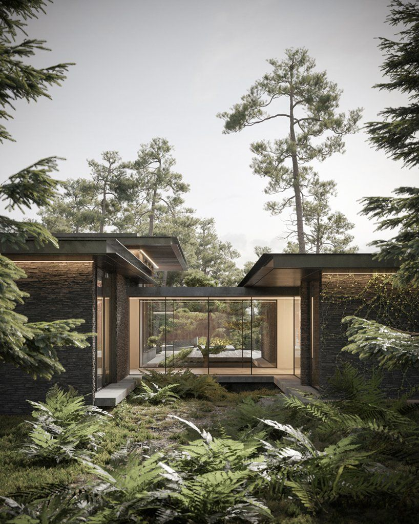 Dezest Envisions Pine Cove House As Forest Retreat To Escape Urban Density Dream House Exterior Modern House Exterior House In Nature