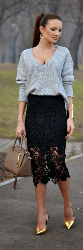 Grey V-Neck Sweater with The Perfect Lace Skirt by My Silk Fairytale #lace #black #skirt #outfit #twinkledeals