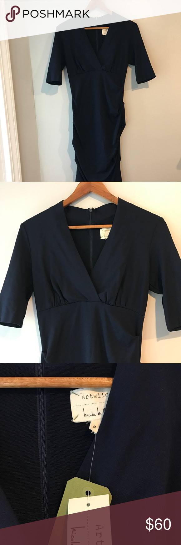 Nicole Miller Artelier Navy Dress Sz M (US 8-10) Sheath silhouette. Solid colorway on a stretch-ponte fabrication. Crossover V-neckline. Three-quarter sleeves. Empire waist. Ruching throughout for a flattering shape. Concealed hook and zipper closure at back. Unlined. Straight hemline. 71% polyester, 24% rayon, 5% elastane. Hand wash cold, lay flat to dry. Nicole Miller Dresses