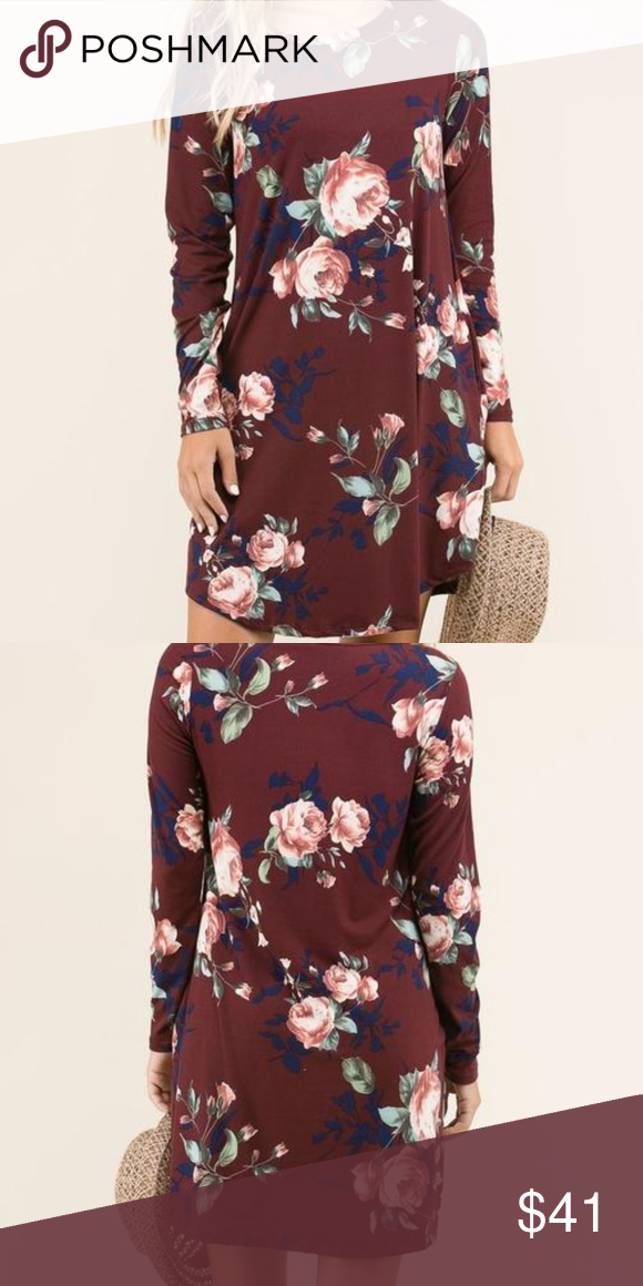 b16f46652ef Riley Floral Swing Dress+ Beautiful long sleeve burgundy floral print  perfect for all seasons for my plus size gals. Fabric   95% Polyester 5%  Spandex (baby ...