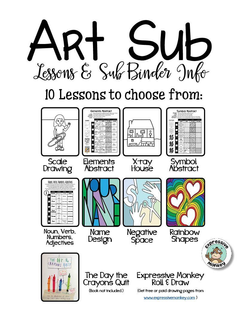 This is a graphic of Striking Elementary Art Worksheets