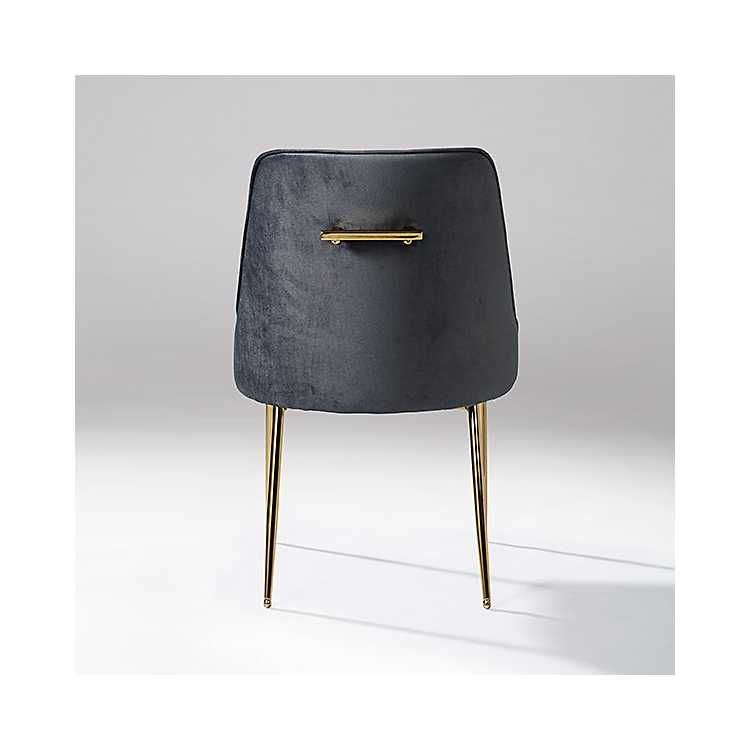 Gray velvet dining chair with gold legs dining chairs