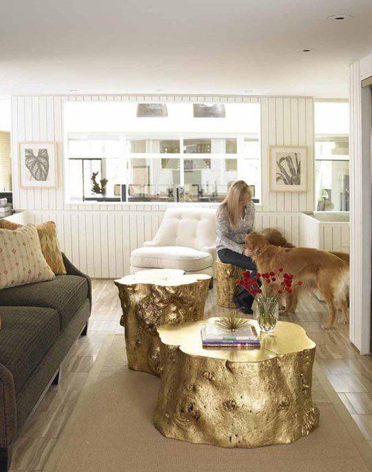 metallic resin log stool | metallic gold, logs and tree stump table