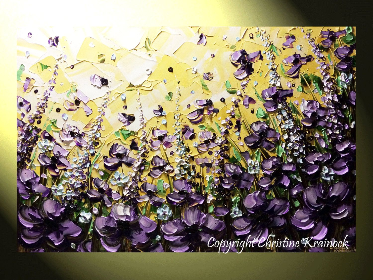 Original Art Abstract Painting Lilac Flowers Landscape Palette ...