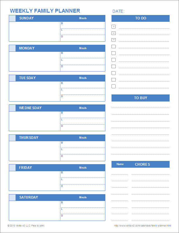 Download Printable Weekly And Daily Family Planner Templates For