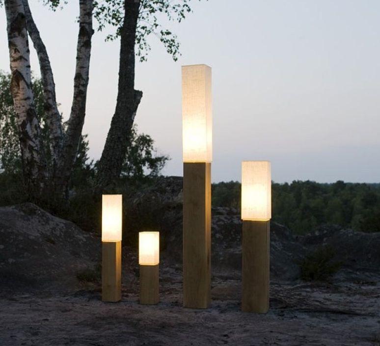 Lampadaire En Bois Blanc Eclairage Exterieur Terrasse Lampadaire Jardin Luminaire Exterieur Design