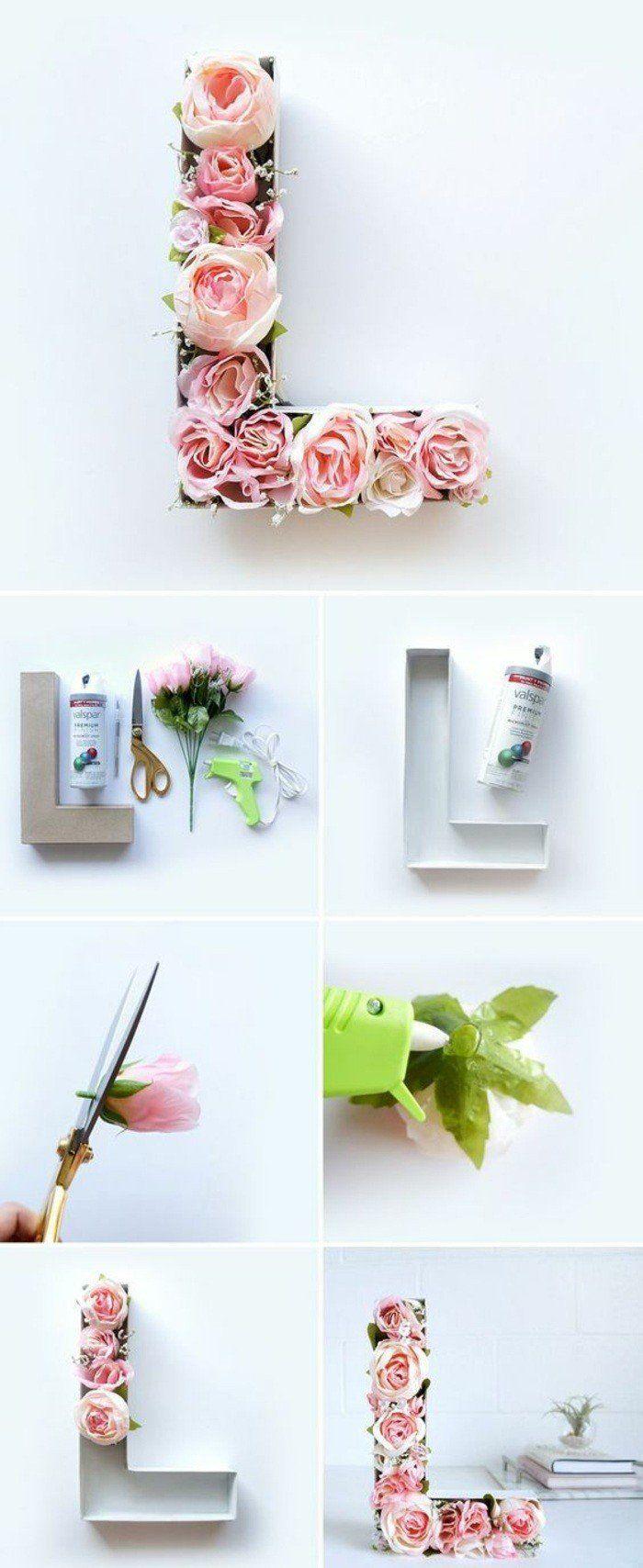 wanddeko selber machen fruhlingsdeko basteln buchstabe mit rosen ...
