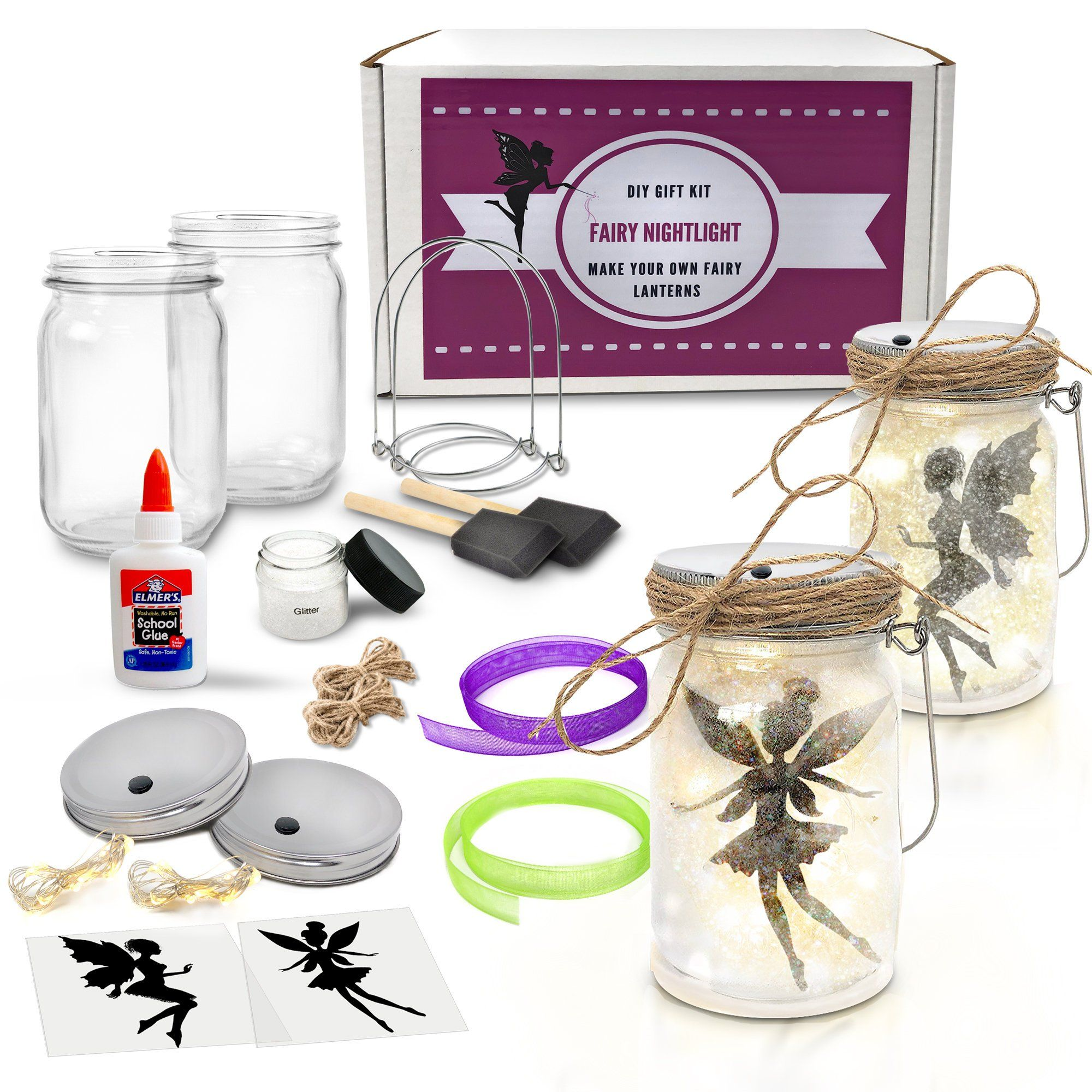 Fairy nightlight lantern craft kit 2 pack diy make