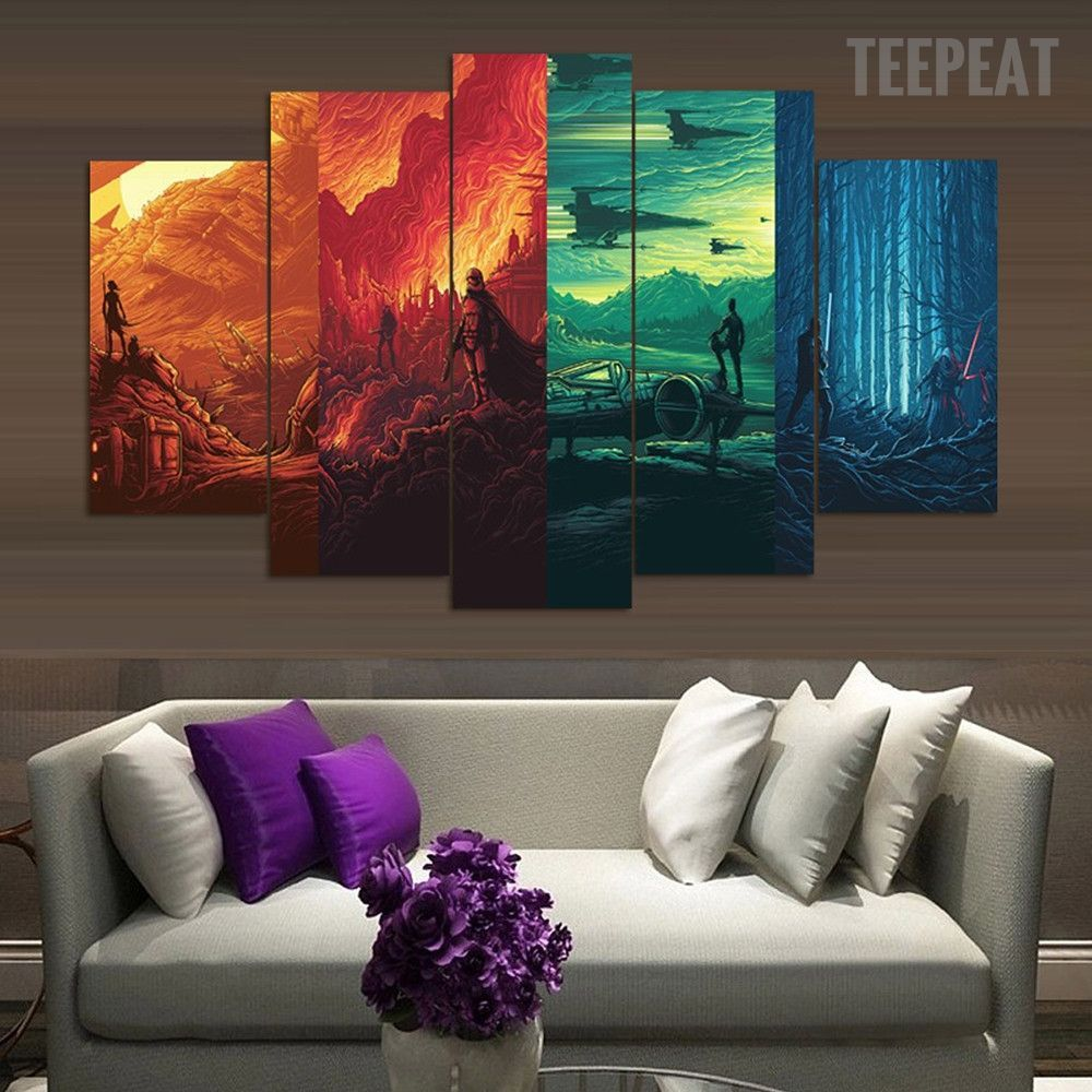 Star Wars 4 Worlds 5 Piece Canvas Painting Star Wars Wall Art Star Wars Framed Art Star Wars Canvas Painting